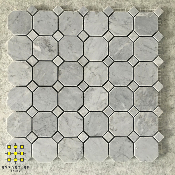 Turin Grey Marble Octagon and Dot Mosaic