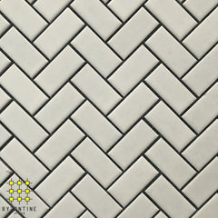 White Gloss Herringbone Porcelain Mosaic