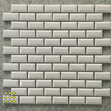 Beveled Brickbond Gloss White Porcelain Mosaic