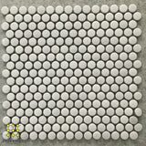 Gloss and Matt White Penny Round Porcelain Mosaic