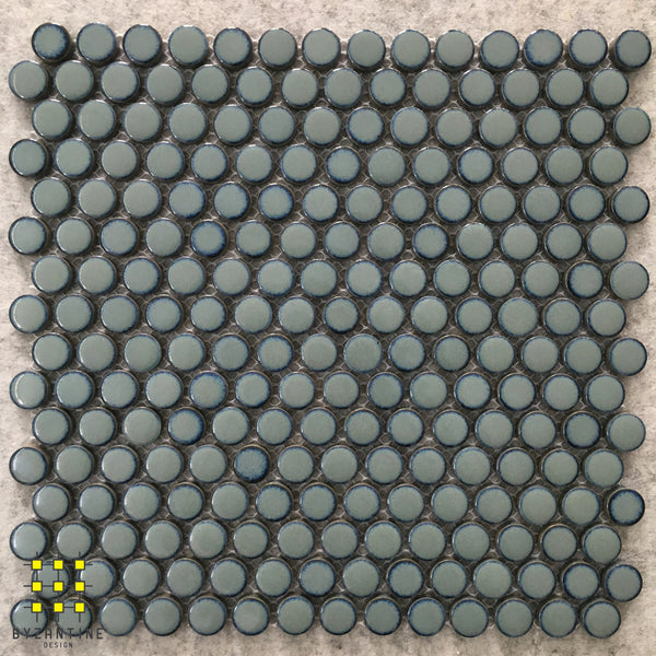 Retro Sea Glazed Penny Round Porcelain Mosaic