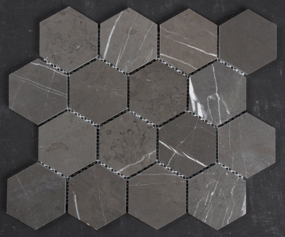 Pietra Grey honed 70mm hexagon
