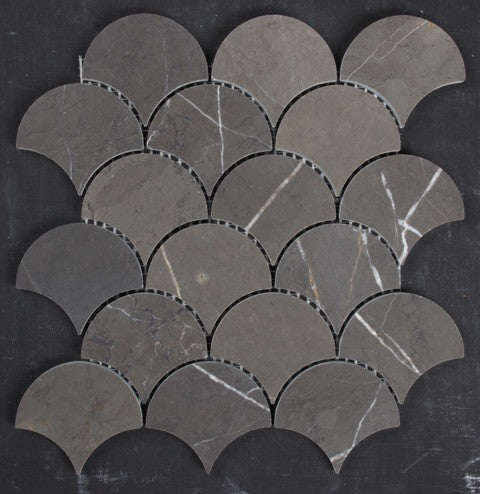 Pietra Grey honed Fan mosaic