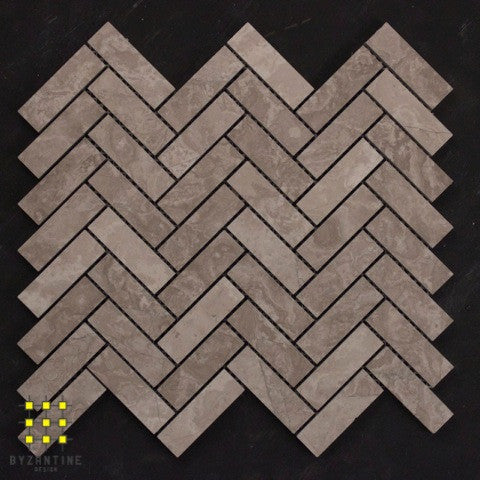 Ribbon Grey Travertine Herringbone - Cross Cut