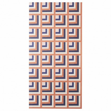 BONNIE AND NEIL COASTAL TILE TERRACOTTA NAVY VINYL RUG