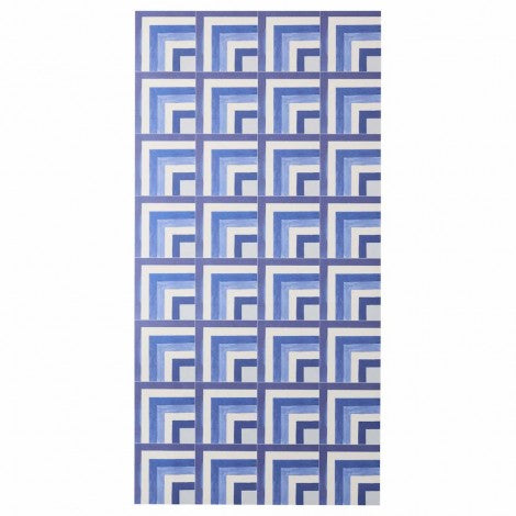 BONNIE AND NEIL COASTAL TILE BLUE VINYL RUG