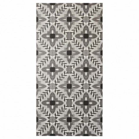 BONNIE AND NEIL DECO FLOWER TILE BLACK VINYL RUG
