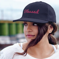 Limited Edition Embroidered Blessed Dad Hat (Navy/Pink)