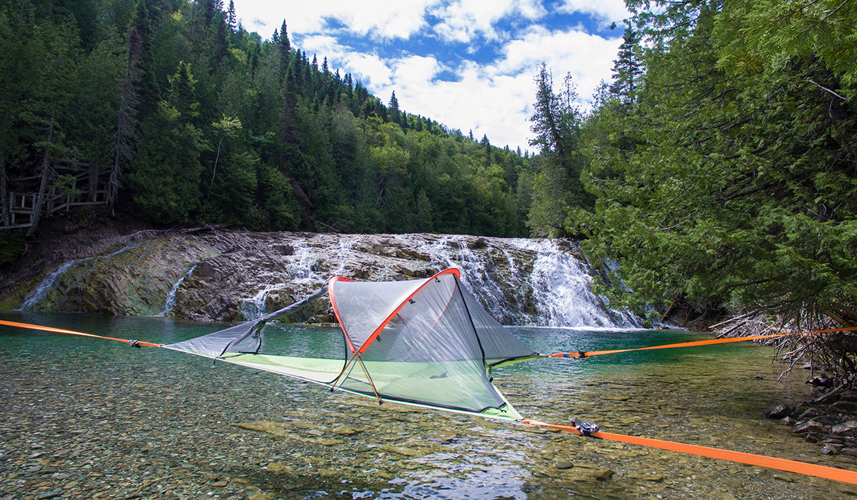 Connect 2 person Tentsile tree tent camping over a waterfall and river