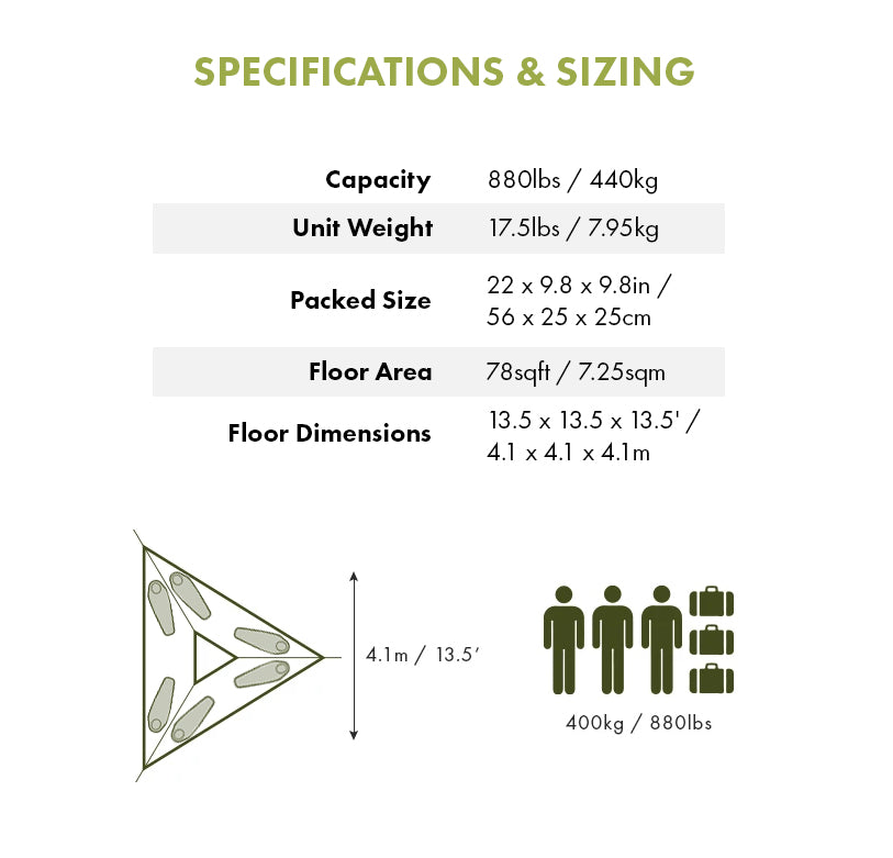 Specifications - Trillium XL 6-Person Hammock