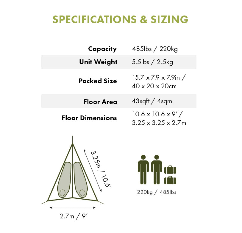 Specifications & Sizing - T-Mini 2-Person Double Hammock