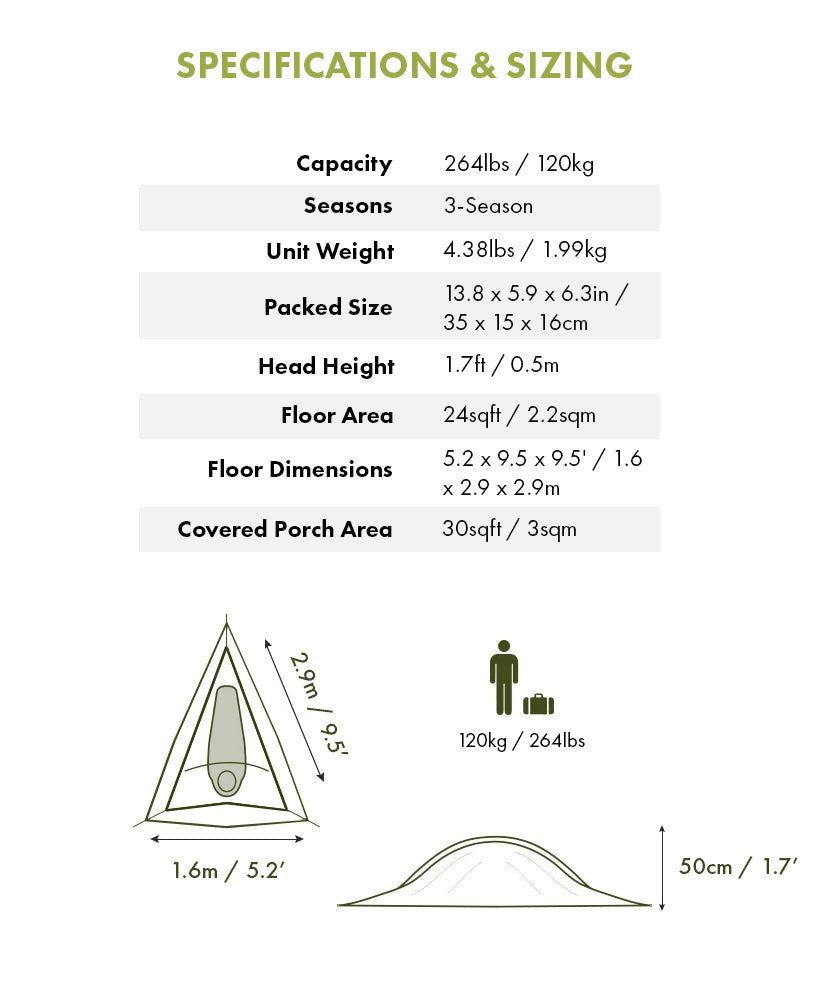 Specifications & Sizing - UNA 1-Person Hammock Tent