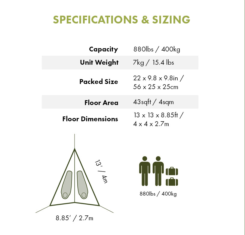 Specifications & Sizing - Duo 2-Person Double Hammock