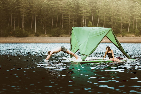 Floating tent on the water