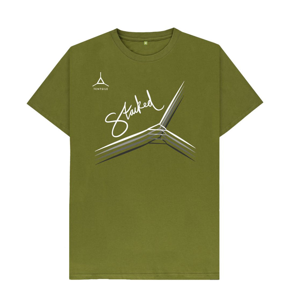 Moss Green Tentsile Logo and Stacked Graphic Mens T shirts
