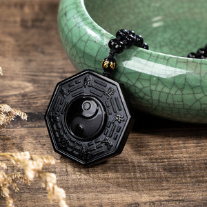 OBSIDIAN YIN AND YANG PENDANT [FREE SHIPPING]