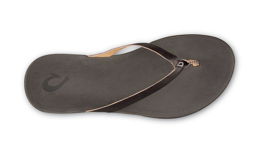Olukai Hoopio Leather Flip Flop Sandal (Onyx/Black) - Womens General OluKai