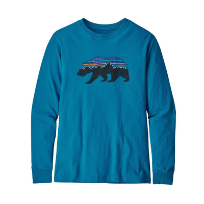 Patagonia Boys Long-Sleeved Graphic Organic T-Shirt Shirts Patagonia Fitz Roy Bear: Balkan Blue XS