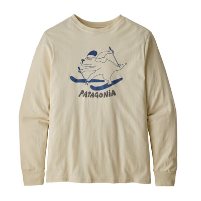 Patagonia Boys Long-Sleeved Graphic Organic T-Shirt Shirts Patagonia Pupski: Oyster White XS