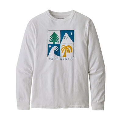 Patagonia Boys Long-Sleeved Graphic Organic T-Shirt Shirts Patagonia Seasons Squared: White XS