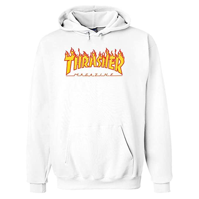 Thrasher Flames Hooded Sweatshirt (White) Inventory Eastern Skateboard Supply
