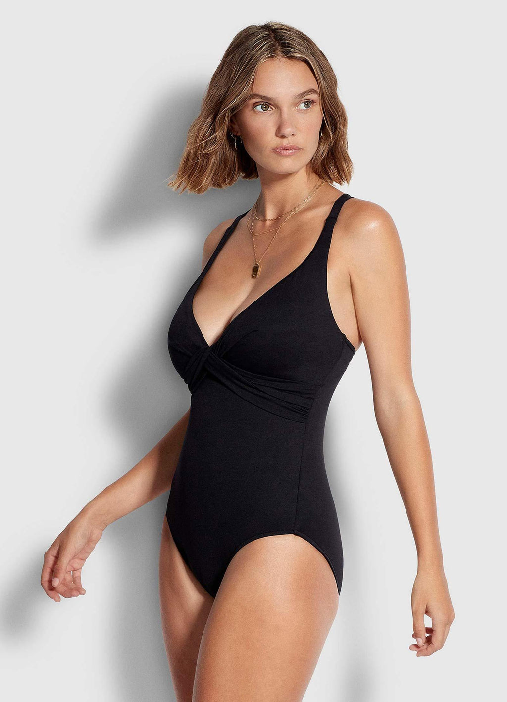DD Cup Wrap Front One Piece Black