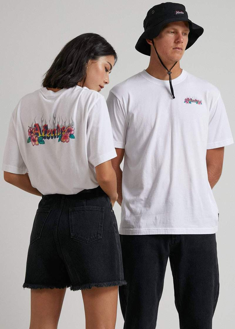 Powerlines Unisex Retro Fit Tee White - AKWA SURF