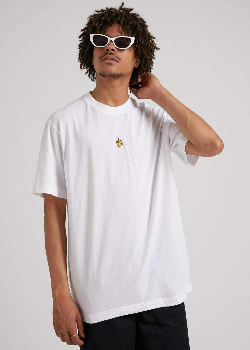 Tito Flame Retro Fit Tee White - AKWA SURF