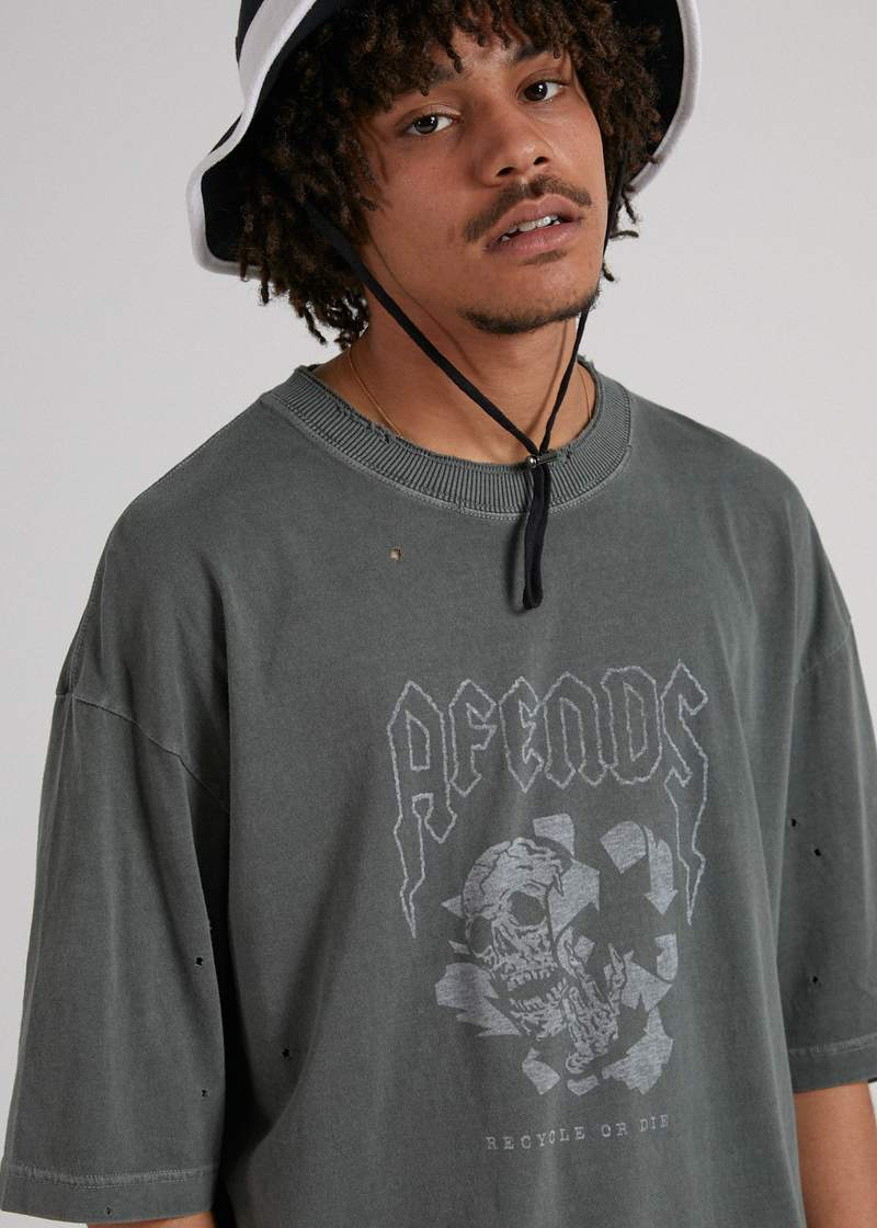 Recycle or Die Oversized Tee Gunmetal - AKWA SURF
