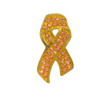 Load image into Gallery viewer, Gold Pink-Ribbon Pin with Pink Diamantes