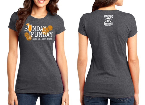 Ladies Sunday Funday  Crewneck Fitted T