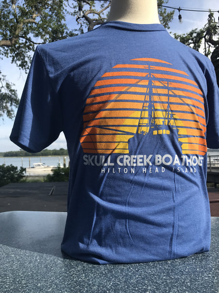 Retro Shrimp Boat T-Shirt- Royal