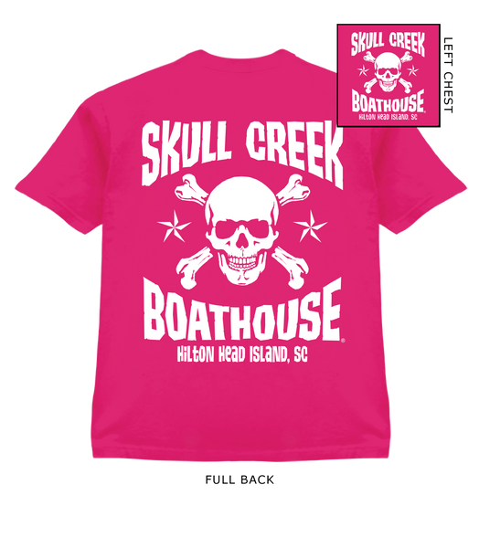 Youth SCB Skull T-Shirt- Wow Pink