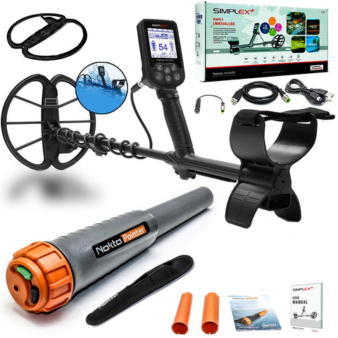 Nokta Simplex+ Waterproof Metal Detector with Waterproof Pinpointer + Extras