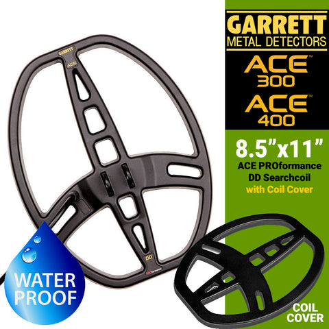 "Garrett ACE Series 8.5"" x 11"" DD PROformance Search Coil with Cover for ACE 200, ACE 300 and ACE 400"