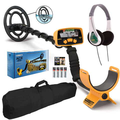 "Garrett ACE 200 Metal Detector with TreasureSound Headphones and 50"" Travel Bag"