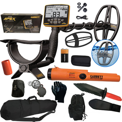 Garrett APEX Multi-Frequency Metal Detector with Pro-Pointer AT Z-Lynk Waterproof Pinpointer and Carry/Travel Bag