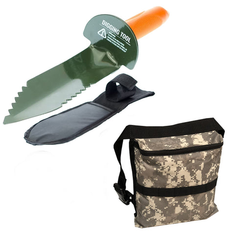 PC Edge Digger with Sheath and Camo Finds Pouch for Metal Detecting