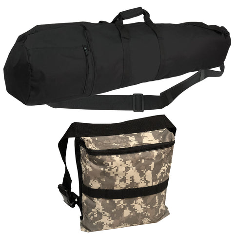 "50"" Black Metal Detector Carry Bag Travel Bag with Camo Finds Pouch"