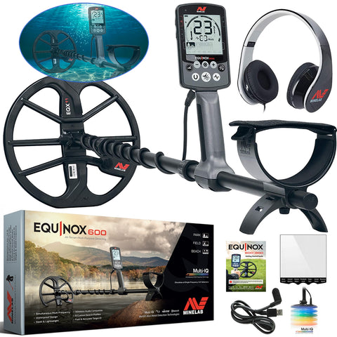 "Minelab Equinox 600 Metal Detector with Headphones 11"" Smartcoil with Cover"