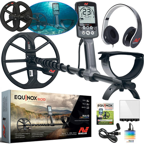 "Minelab Equinox 600 Metal Detector 2 Coil Package with Headphones, 11"" and 6"" coils"
