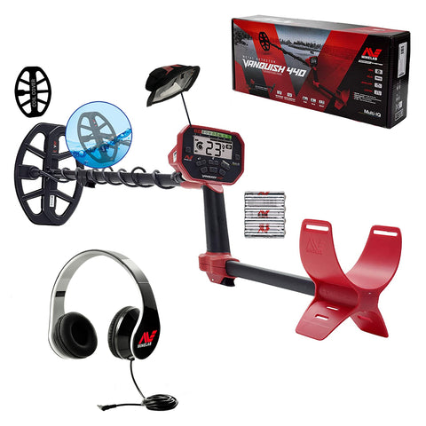 "Minelab Vanquish 440 w/ 5 Bonus Items Metal Detector with Headphones, 10"" Coil with Cover"