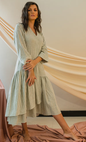 STONE GREY - AURORA STRIPED MIDI DRESS
