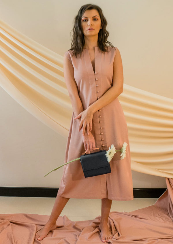 STONE GREY - SUMMER PEACH MIDI DRESS