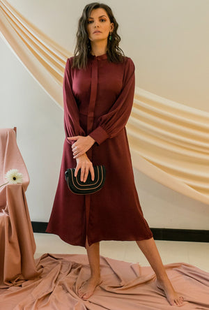 STONE GREY - ALIVIA MAROON MIDI DRESS