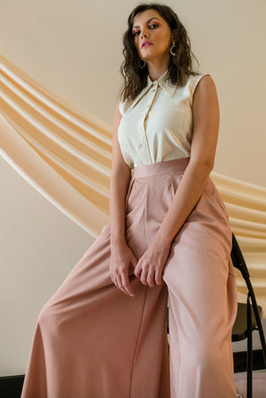 STONE GREY - SUMMER PEACH PALLAZO PANTS