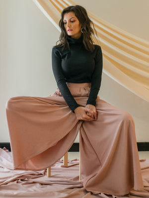 SUMMER PEACH PALLAZO PANTS