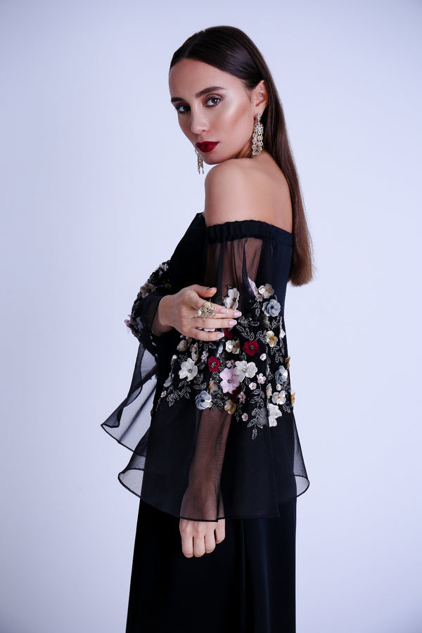 Black Embroidered off shoulder kaftan