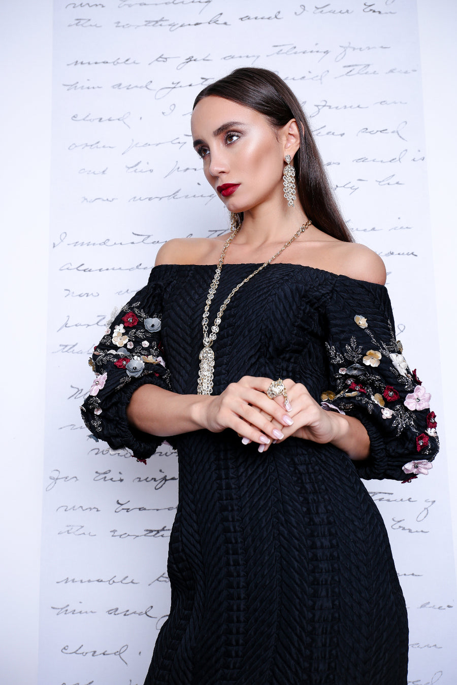 Black Embroidered off shoulder dress