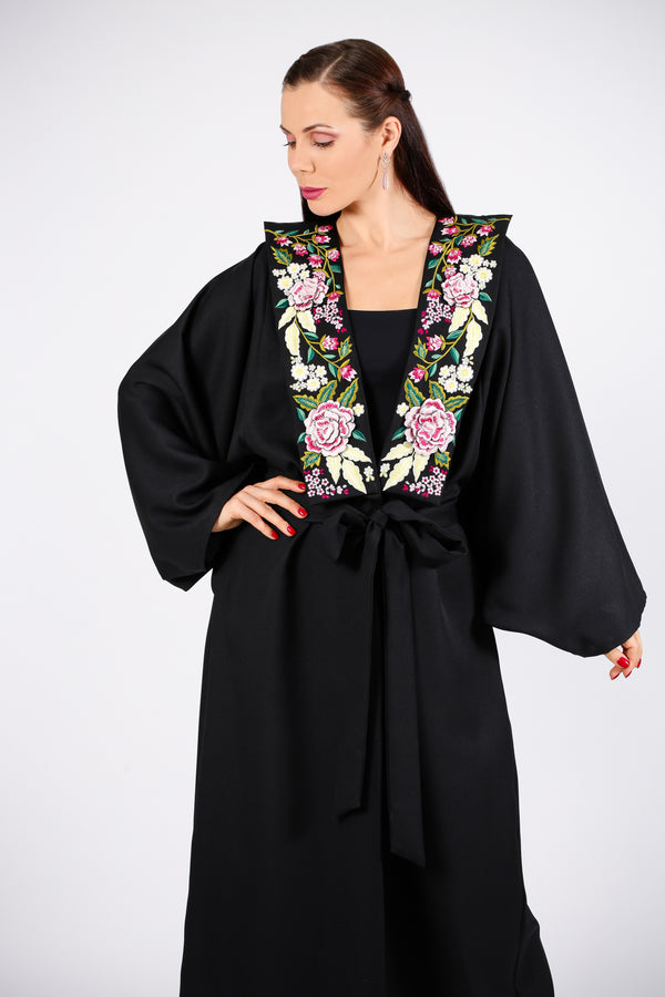 FLORAL ABAYA W/ EMB. ON CHEST
